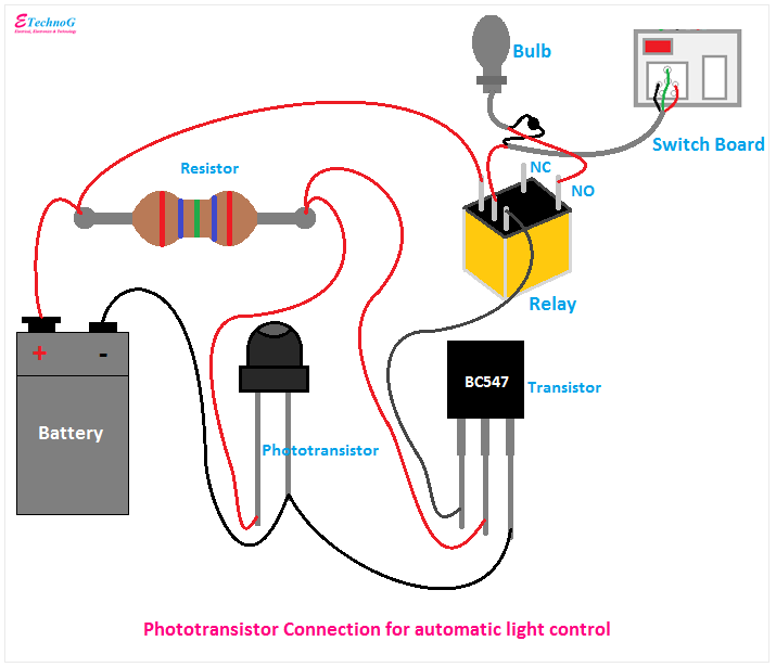 Phototransistor Connection Diagram, Connection of Phototransistor