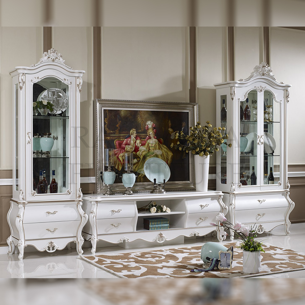 Bufet TV Mewah Jepara White Duco Glossy Luxury Mebel Jepara Terbaru RM-0010