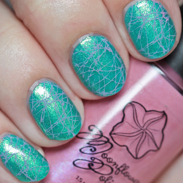 Moonflower Polish Blueberry Lemonade stamped over Nail Hoot Indie Lacquers Glow-Tini