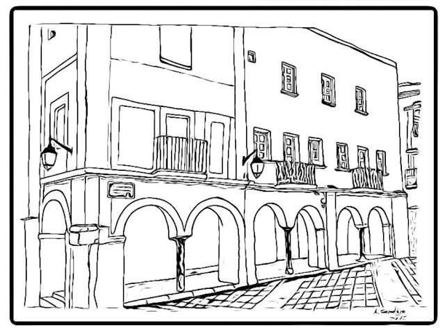 colorear dibujos de la plaza Alta Badajoz