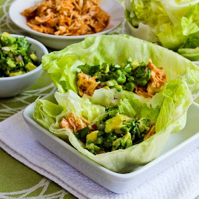 Slow Cooker Spicy Shredded Chicken Lettuce Wrap Tacos or Tostadas found on KalynsKitchen.com.