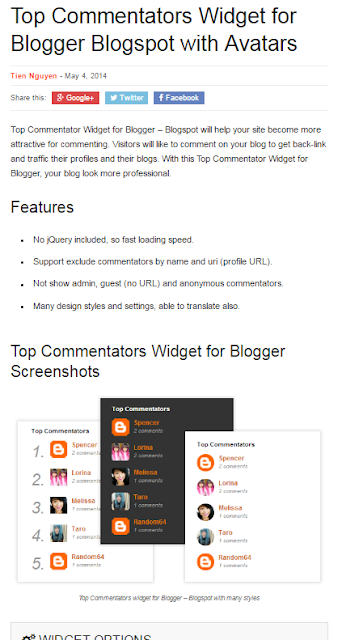 Top Commentators Widget for Blogger Blogspot with Avatars