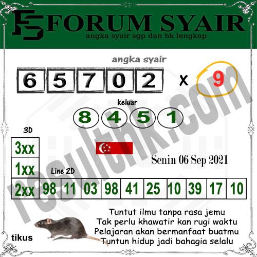 Forum Syair SGP Senin 06 September 2021