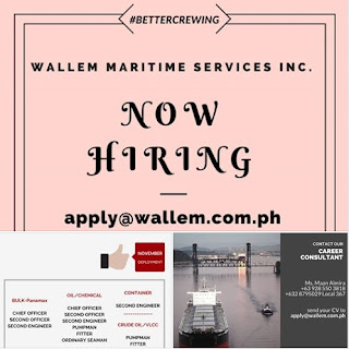 Seaman hiring Filipino crew for NOVEMBER & DECEMBER 2018 DEPLOYMENT work at oil chemical tanker, bulk carrier, container, crude oil tanker ships.