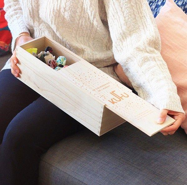 Boite en bois calendrier de l'avent zéro déchet KUFU