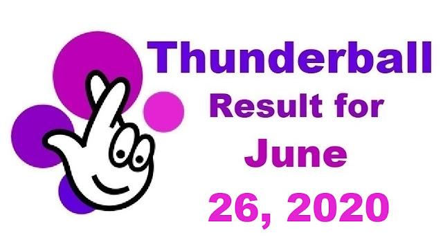 Thunderball Results for Friday, June 26, 2020