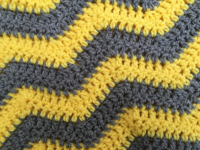 close up of yellow and grey chevron blanket