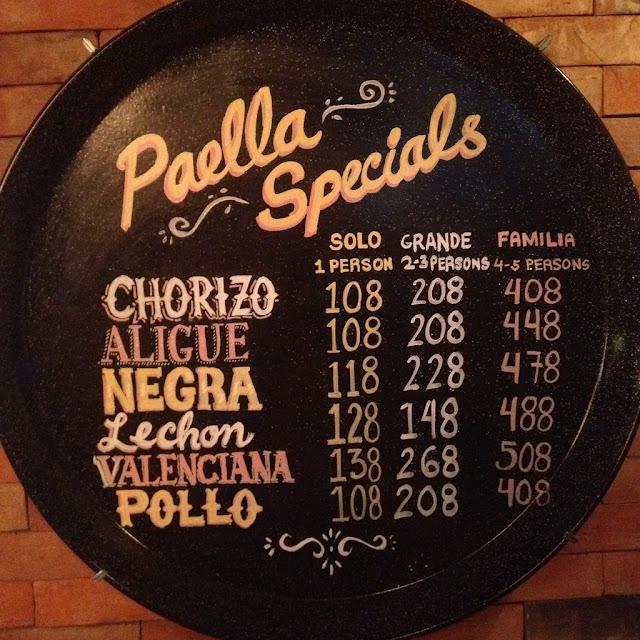 The Menu at Hala Paella Restaurant
