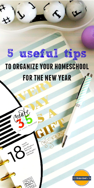 5 Useful Homeschool Organization Ideas perfect for tweaking things in your homeschool over Christmas break as a New Years Resolution, for those considering homeschooling, or planning to home educate.