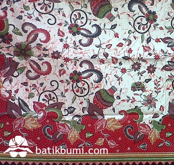 Batik Keris Warna Merah: Kain Batik Gentong Merah BP-004A