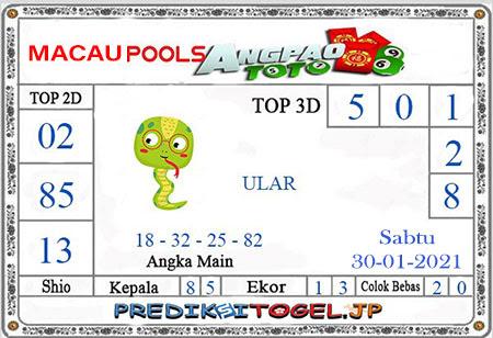 Prediksi Angpao Toto Macau untuk Sabtu, 30 Januari 2021