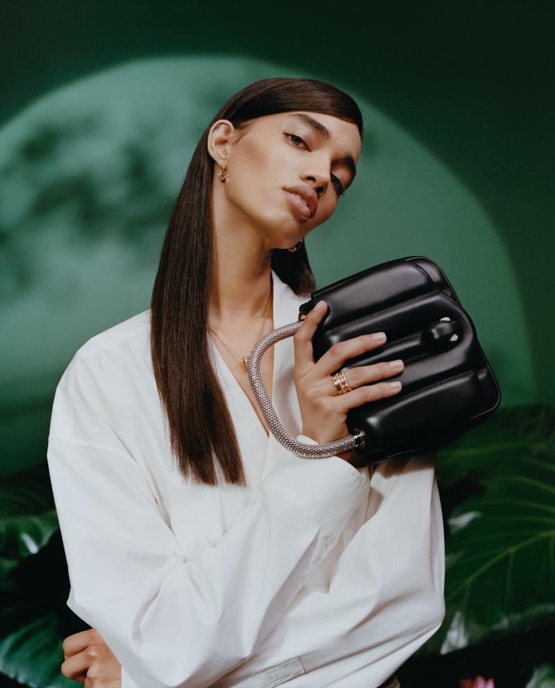 Ellen Rosa fronts Bulgari x Ambush accessories campaign
