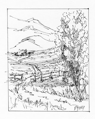 art sketch pen ink landscape rural farm open land