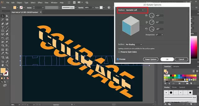 Stair Text Effect in Adobe Illustrator