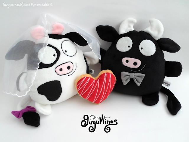 Pareja de boda personalizada, vaca y toro de peluche guyuminos amor  kawaii tierno regalo velo y corbata