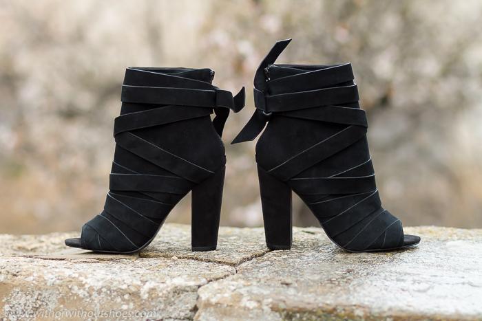 RIGOLI Black negros de ALDO Boots Peep Ankle ante Toe Suede Peep Toe de Botines modelo wOIX7qT