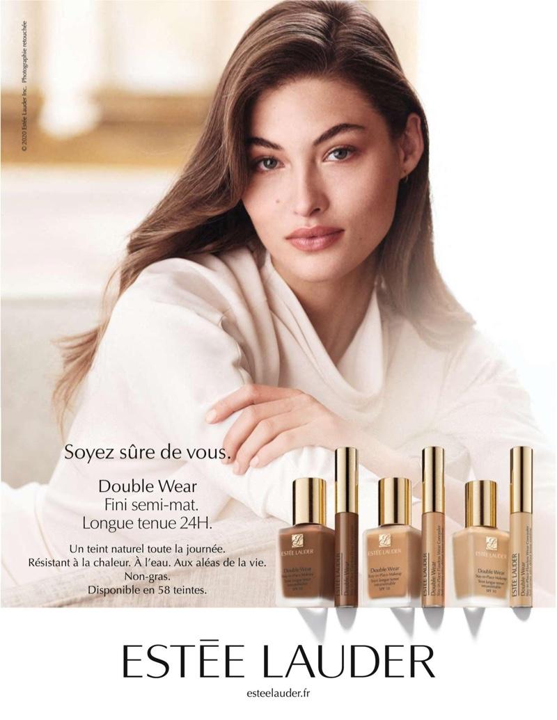 Model Grace Elizabeth fronts Estee Lauder Double Wear foundation 2020 campaign