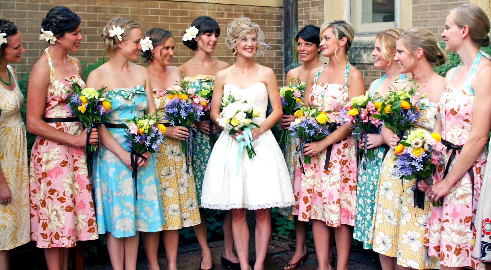 bridesmaid wedding dresses 02 17 Rustic Ideas Plum Pretty Sugar Print Wedding and Printed bridesmaid dresses