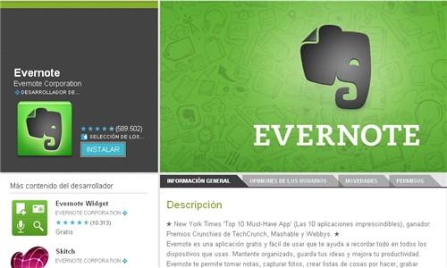 Página para descargar Evernote