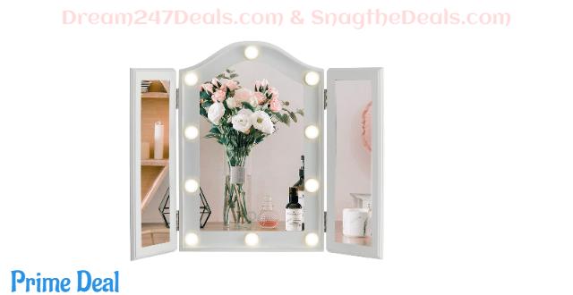 LUXFURNI Vanity Lighted Tri-fold Makeup Mirror 30% OFF