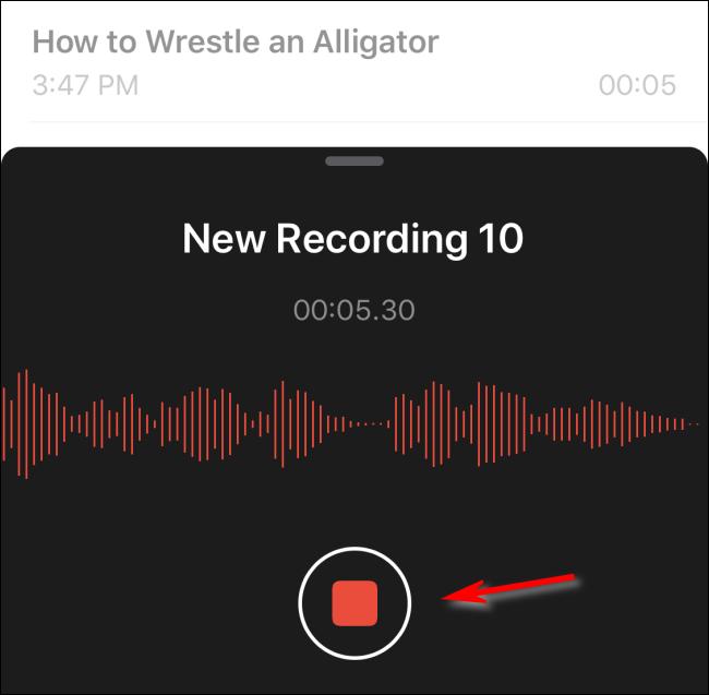 قم بإيقاف تسجيل مذكرة صوتية في iOS