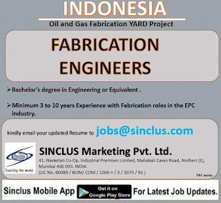 Fabrication Engineers for Indonesia
