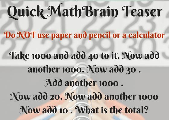 Quick Math Brain Teaser