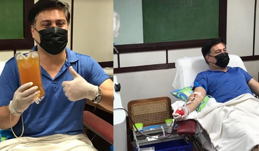 COVID-19 recovered patient Senator Migz Zubiri donates blood plasma to PGH.