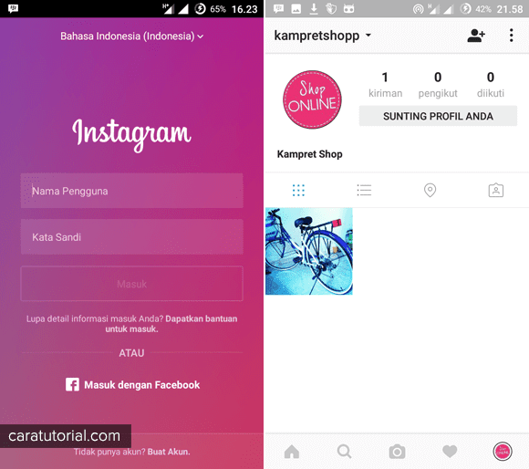 Login Akun Instagram di Android