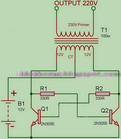 Rangkaian Inverter Dc To Ac Dengan Transistor 2n3055 Gambar