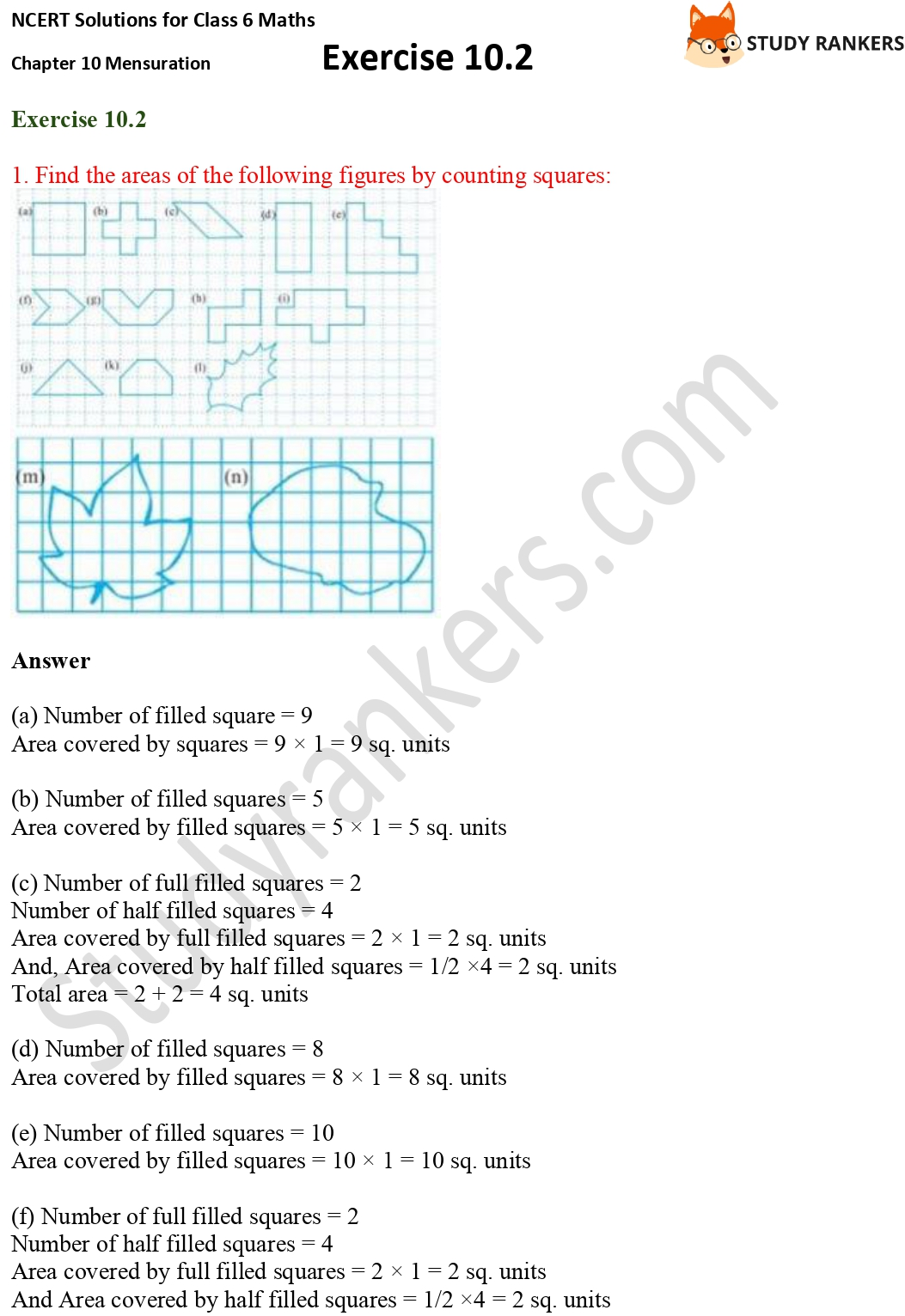 NCERT Solutions for Class 6 Maths Chapter 10 Mensuration Exercise 10.2 Part 1