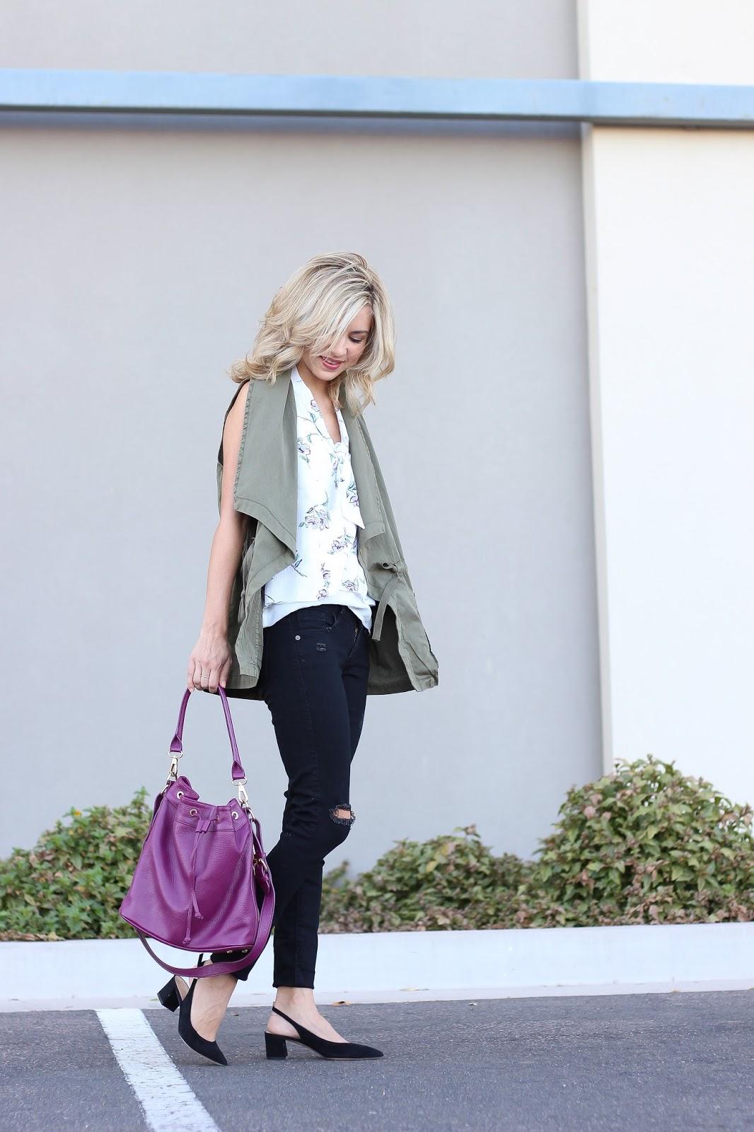 utility vest - block heels - bucket bag