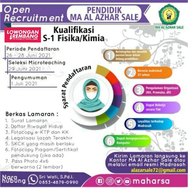 Lowongan Kerja Pendidik MA Al-Azhar Sale Rembang