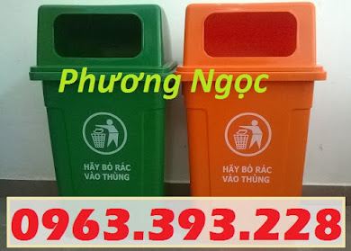 Thùng rác 90 Lít nắp hở nhựa HDPE, thùng rác cửa ngang, thùng rác công cộng TR90LNH1