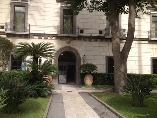The entrance to the Grand Hotel Cocumella in the Sant'Agnello district, which is the oldest hotel in Sorrento