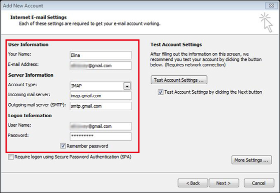 fulfill Gmail account details