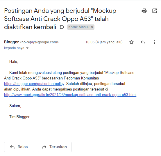Email kabar gembira dari Blogger