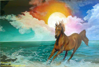 racing horse and sea oil painting by nimisha k