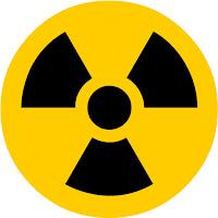The radiation hazard symbol.