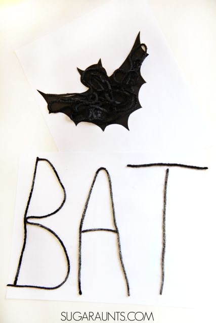 Halloween textured bat craft and creative letter formation activity in this sensory Halloween craft that is a Scissor Skill power house.  Appropriate and fun for creative kids from preschool, kindergarten, and elementary school aged.