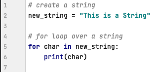 For loop in Python over a string