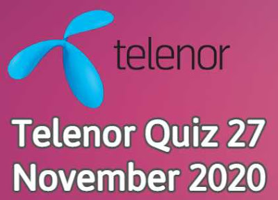 Telenor Quiz 27 November 2020 || Telenor Answers 27 nov 2020