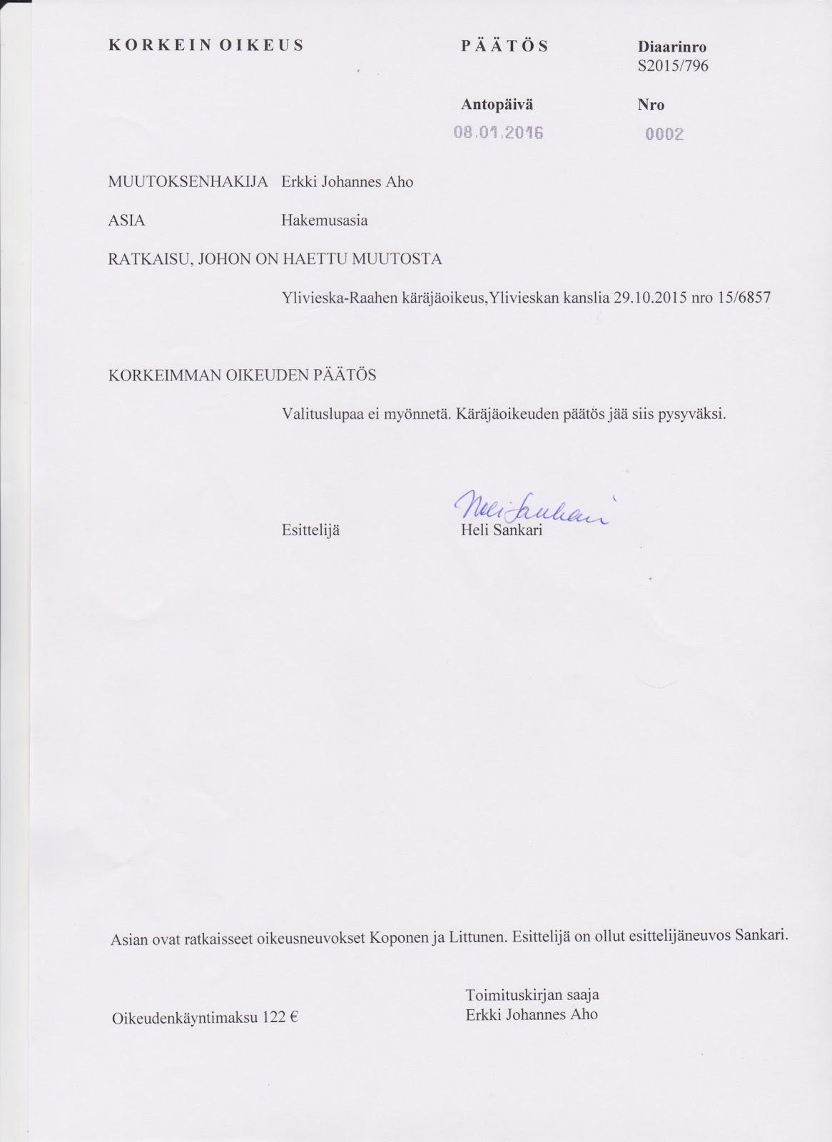esittelijäneuvos korkein oikeus