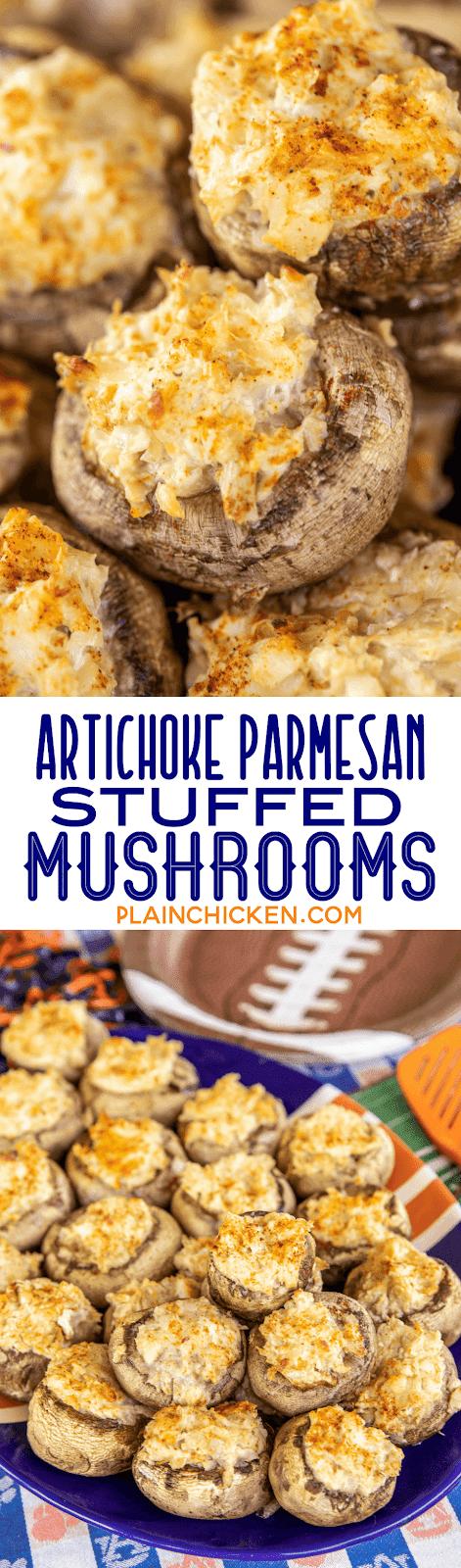 collage of 2 photos of stuffed mushrooms