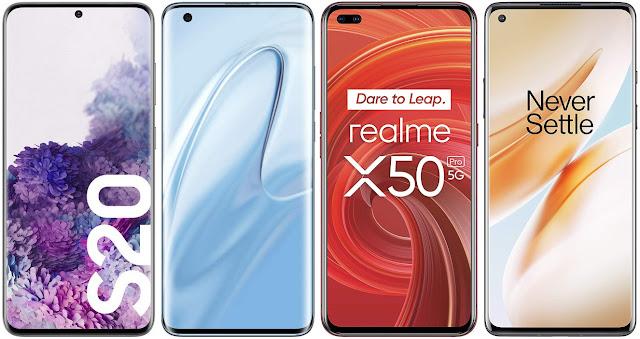 Samsung Galaxy S20 vs Xiaomi Mi 10 vs Realme X50 Pro vs OnePlus 8