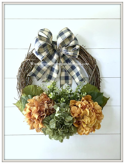 DIY-Fall -Hydrangea Wreath-Blue-Buffalo-Check-Bow-Grapevine-Wreath-From My Front Porch To Yours