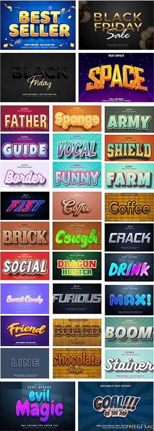 50 Vector Collection Editable 3D Text Style Effect