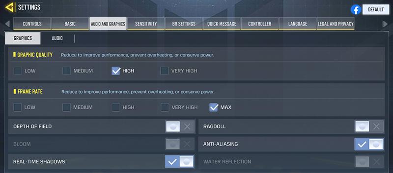 COD: Mobile settings