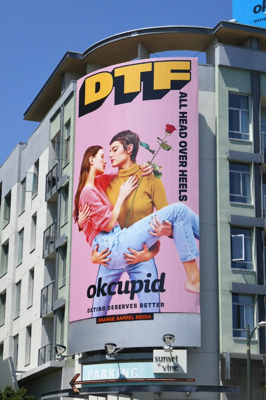 DTFall head over heels OkCupid billboard