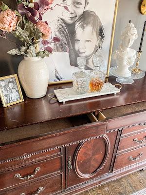 Vintage sideboard buffet in dining room